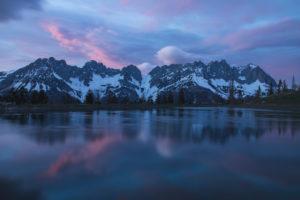 Austria, Wilder Kaiser, lake, dusk