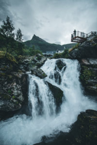 Norway, Geiranger, waterfall