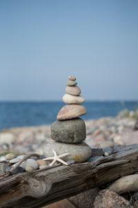 Stone tower, sea, beach, starfish,