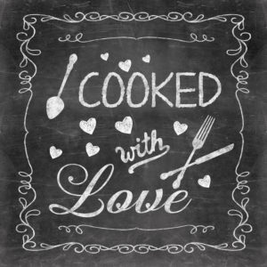 Illustration, blackboard, chalk, 'Cooked with Love'