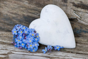 Bouquet Forget-me-not and Stone Heart, Myosotis, Still life