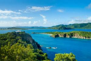 Panoramic view from Great Camanoe Island to Little Camanoe Island, Tortola and Beef Island on British Virgin Islands, Caribbean