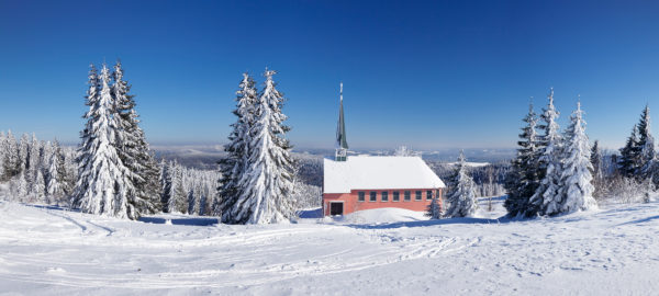 Winter scenery on Kandel close church, Black Forest, Baden-Wurttemberg, Germany