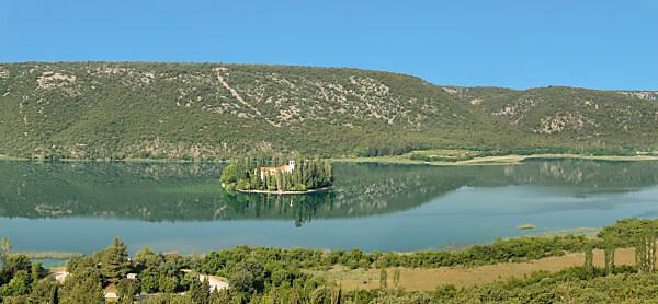 Visovac Monastery on Visovac Island, Krka National Park, UNESCO World Heritage Site, Dalmatia, Croatia