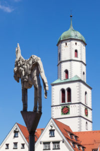 Church Saint Martin and Wielandscher donkey, Biberach an der Riss, Upper Swabia, Baden-Wuerttemberg, Germany