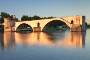 Pont Saint-Bénézet / Pont d'Avignon over the Rhone at sunrise, UNESCO world cultural heritage, Avignon, Provence, Provence-Alpes-Cote d'Azur, the South of France, France