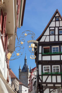 Blue tower, Old Town, Bad Wimpfen, district Heilbronn, Baden-Wurttemberg, Germany