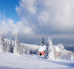 Winter scenery on the Kandel with church, Black Forest, Baden-Wurttemberg, Germany