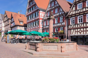 Half-timbered houses and market fountain on the Marktplatz (square), Calw, Black Forest, Baden-Wurttemberg, Germany