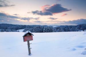 Sundown close Furtwangen in winter, Black Forest, Baden-Wurttemberg, Germany