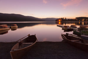 boats on the Schluchsee at sundown, Black Forest, Baden-Wurttemberg, Germany