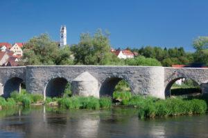 Brücke über die Wörnitz, Harburg, Romantische Straße, Schwaben, Bayern, Deutschland