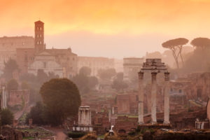 Roman Forum at sunrise, Foro Romano, Rome, Lazio, Italy
