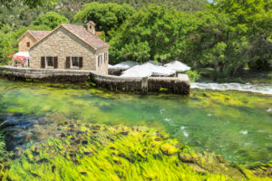 Restaurant and cafe in a former mill, Krka National Park, UNESCO World Heritage Site, Dalmatia, Croatia
