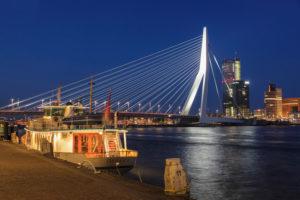 Erasmus Bridge and high-rise buildings on the Nieuwe Maas, Rotterdam, South Holland, Netherlands