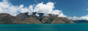View across Lake Wakatipu to the Thomson Mountains, Queenstown, Otago, South Island, New Zealand, Oceania