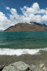 Lake Wakatipu against Cecil Peak, Queenstown, Otago, South Island, New Zealand, Oceania