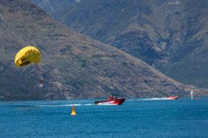 Parasailing on Lake Wakatipu, Queenstown, Otago, South Island, New Zealand, Oceania