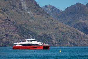 Tour boat on Lake Wakatipu, Queenstown, Otago, South Island, New Zealand, Oceania