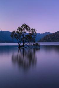 Lake Wanaka zur blauen Stunde, Mount-Aspiring Nationalpark, UNESCO Weltnaturerbe, Otago, Südinsel, Neuseeland, Ozeanien