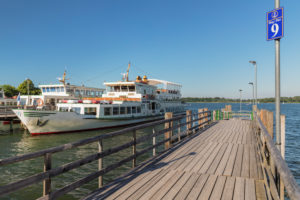 Tour ship at the pier, Prien am Chiemsee, Upper Bavaria, Germany