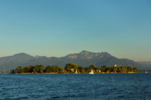 Fraueninsel at sunset, Gstadt am Chiemsee, Upper Bavaria, Germany