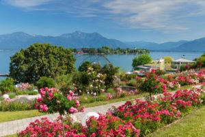 Gstadt am Chiemsee, Blick zur Fraueninsel, Oberbayern, Deutschland