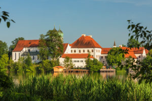 Seeon Abbey on Seeoner See, Chiemgau, Upper Bavaria, Germany