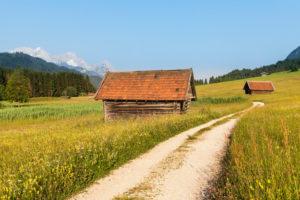 Weg durch Blumenwiesen am Geroldsee, Oberbayern, Bayern, Deutschland