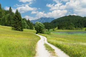 Path on Geroldsee with a view of the Karwendel Mountains near Klais, Upper Bavaria, Bavaria, Germany