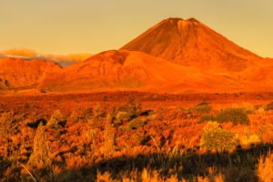Mount Ruapehu at sunset, Tongariro National Park, UNESCO World Heritage Site, Ruapehu, North Island, New Zealand, Oceania