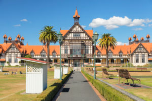 Bath House, Museum of Art and History, Government Garden, Rotorua, Bay of Plenty, Nordinsel, Neuseeland, Ozeanien