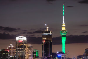 Sky Tower and Auckland skyline at night, North Island, New Zealand, Oceania
