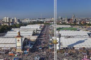 View over the Munich Oktoberfest, Ludwigsvorstadt, Munich, Upper Bavaria, Bavaria, southern Germany, Germany, Europe