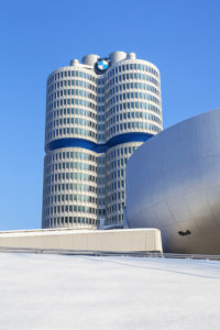 BMW Welt with BMW Tower in winter, Munich, Milbertshofen, Upper Bavaria, Bavaria, Southern Germany, Germany, Europe