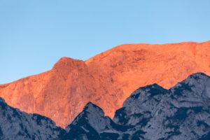 Abendsonne auf dem Hoch Göll, Schönau am Königssee, Berchtesgadener Land, Oberbayern, Bayern, Süddeutschland, Deutschland, Europa