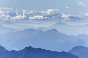 Aussicht vom Gipfel des Hocheck (2651 m) auf den Alpenhauptkamm, Ramsau, Berchtesgadener Land, Oberbayern, Bayern, Süddeutschland, Deutschland, Europa
