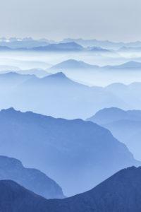 Aussicht vom Gipfel des Hocheck (2651 m) auf die umliegenden Berge, Ramsau, Berchtesgadener Land, Oberbayern, Bayern, Süddeutschland, Deutschland, Europa
