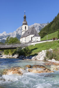 View from the Malerwinkel on church St. Sebastian and Fabian on the Ramsauer Ache, Ramsau, Reiter Alm in the Berchtesgaden Alps in the background, Berchtesgadener Land, Upper Bavaria, Bavaria, southern Germany, Germany, Europe