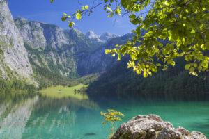 Lake Obersee above the lake Königssee, Schönau, Berchtesgadener Land, Upper Bavaria, Bavaria, southern Germany, Germany, Europe