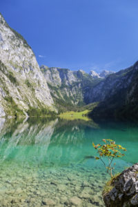 Lake Obersee above the lake Königssee, Schönau, Berchtesgadener Land, Upper Bavaria, Bavaria, southern Germany, Germany, Europe