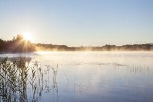 Sunrise at Lake Staffelsee, Uffing, Lake Staffelsee, Upper Bavaria, Bavaria, Southern Germany, Germany, Europe