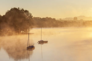 Sunrise at Staffelsee, Uffing am Staffelsee, Upper Bavaria, Bavaria, Southern Germany, Germany, Europe