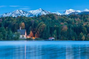 The Klösterl on the Zwergern peninsula on Lake Walchensee, Kochel am See, Upper Bavaria, Bavaria, Southern Germany, Germany, Europe
