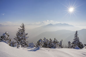 View from the Herzogstand in the Bavarian Prealps to the Estergebirge, Wetterstein and Ammer Mountains, Upper Bavaria, Bavaria, Southern Germany, Germany, Europe