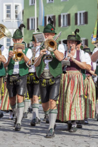 Band Wössen on  traditional costume parade through Rosenheim, Gaufest of the Gauverband I, Upper Bavaria, Bavaria, South Germany, Germany, Europe