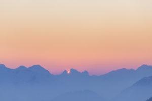Sonnenuntergang in den Ammergauer Alpen, Blick vom Herzogstand, Walchensee, Bayerische Voralpen,  Oberbayern, Bayern, Süddeutschland, Deutschland, Europa