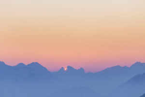 Sunset in the Ammergau Alps, view from the Herzogstand, lake Walchensee, Bavarian Prealps, Upper Bavaria, Bavaria, southern Germany, Germany, Europe