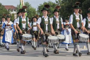 Costume parade through Rosenheim, Gaufest of the Gauverband I, Upper Bavaria, Bavaria, Southern Germany, Germany, Central Europe, Europe