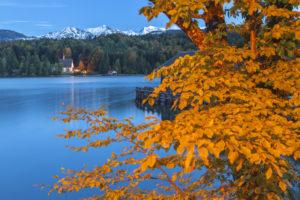 Monastery 'Klösterl' on the peninsula Zwergern, lake Walchensee, Kochel am See, Upper Bavaria, Bavaria, southern Germany, Germany, Europe